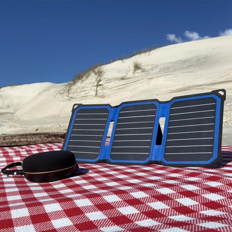 SunSaver Super-Flex Solar Phone Charger Charging a Bluetooth Speaker